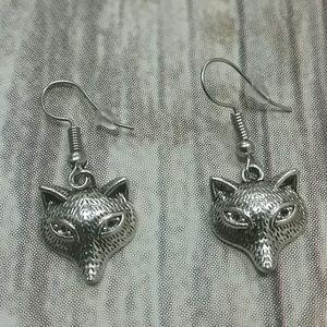 Silvertone Fox Earrings